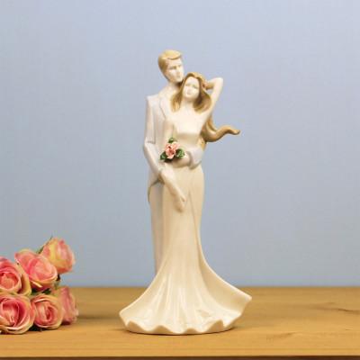 Diğer - Aşık Çift Çiçekli Porselen Biblo 25,5cm