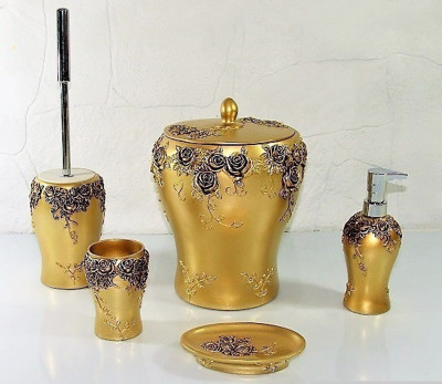 Diğer - Asmagül Lüks Banyo Seti 5 Parça Gold