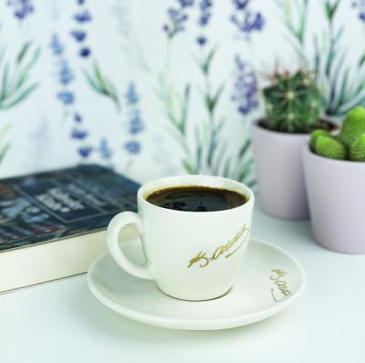 Diğer - Atatürk İmzalı Kahve Fincanı Beyaz