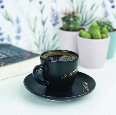 Diğer - Atatürk İmzalı Kahve Fincanı Siyah