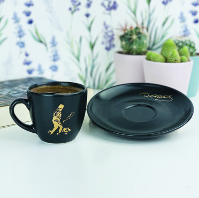 Diğer - Atatürk İmzalı Ve Silüetli Kahve Fincanı Siyah
