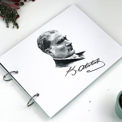 Diğer - Atatürk Siyah Yapraklı Fotoğraf Albümü ve Beyaz Jel Kalem