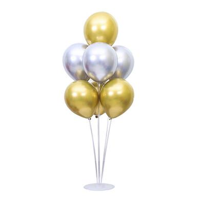Diğer - Ayaklı Balon Standı ve 7li Gold Gümüş Krom Balon Seti