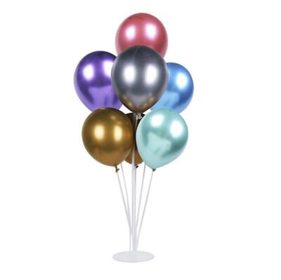 Diğer - Ayaklı Balon Standı ve 7li Karışık Renkli Krom Balon Seti