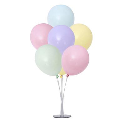 Diğer - Ayaklı Balon Standı ve 7li Karışık Renkli Makaron Balon Seti