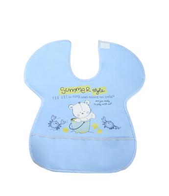 Diğer - Ayıcık Desenli Yengeç Model Muşamba Mama Önlüğü Mavi