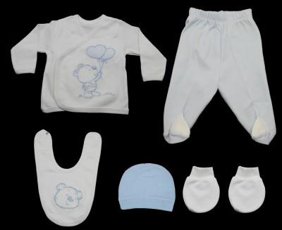 Ayıcıklı Bebe Zıbın Seti Mavi 5 Parça - Thumbnail