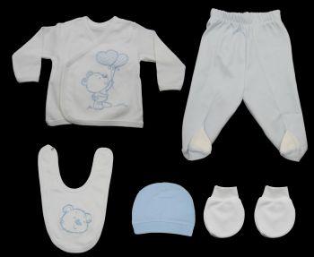 Ayıcıklı Bebe Zıbın Seti Mavi 5 Parça