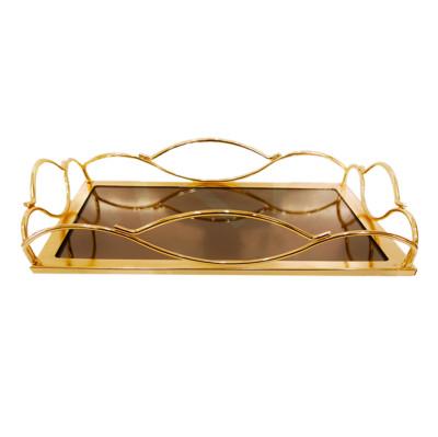 Diğer - Aynalı Dalga Kenarlı Söz Nişan Tepsisi 35x24cm Gold