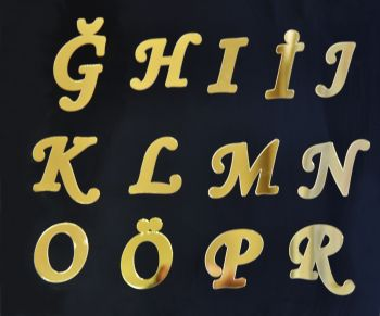Aynalı Harf Sticker Gold