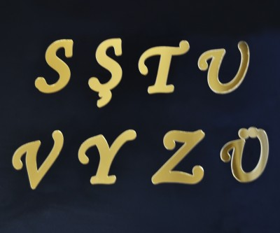 Aynalı Harf Sticker Gold - Thumbnail