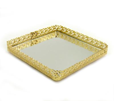 Diğer - Aynalı Kare Mini Jardinyer Tepsi Gold 18cm