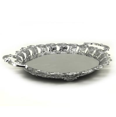 Diğer - Aynalı Kulplu Jardinyer Söz Nişan Tepsisi Gümüş
