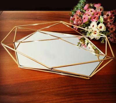 Diğer - Aynalı Metal Prizma Tepsi Gold 42cm
