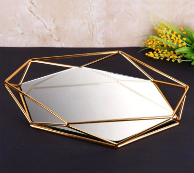 Aynalı Metal Prizma Tepsi Gold Orta Boy - Thumbnail