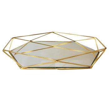 Aynalı Metal Prizma Tepsi Gold Orta Boy