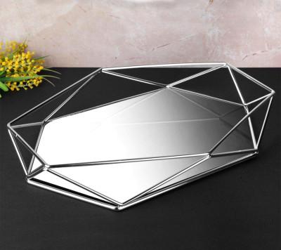 Diğer - Aynalı Metal Prizma Tepsi Gümüş 42cm