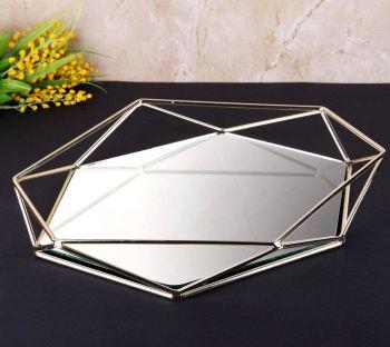 Aynalı Metal Prizma Tepsi Gümüş 42cm