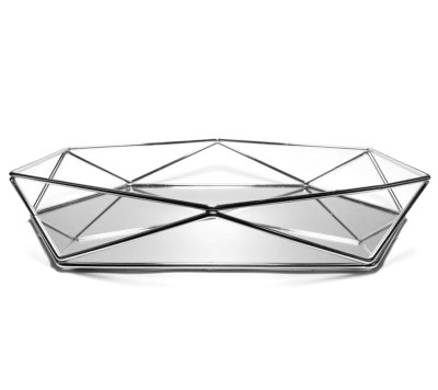 Aynalı Metal Prizma Tepsi Gümüş Orta Boy - Thumbnail