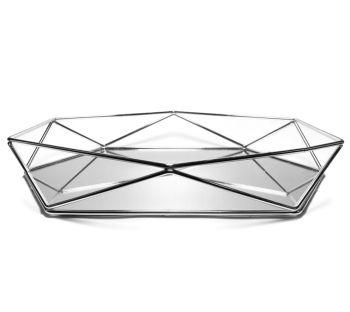 Aynalı Metal Prizma Tepsi Gümüş Orta Boy