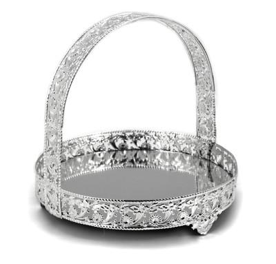 Diğer - Aynalı Üstten Tutmalı Jardinyer Şekerlik Gümüş 22cm