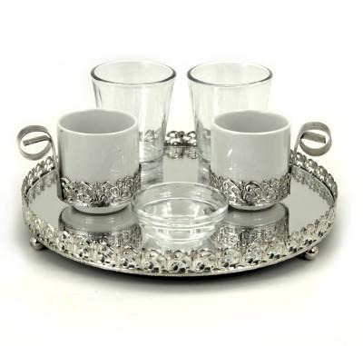 Diğer - Aynalı Yuvarlak Jardinyer Tepsili İkili Damat Fincan Takımı Gümüş
