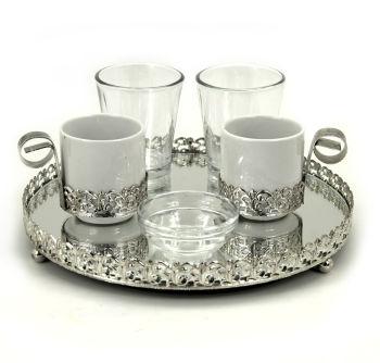 Aynalı Yuvarlak Jardinyer Tepsili İkili Damat Fincan Takımı Gümüş