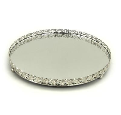 Aynalı Yuvarlak Jardinyer Tepsili İkili Damat Fincan Takımı Gümüş - Thumbnail