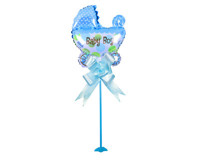 Diğer - Baby Boy Puset Figürlü Parti Masa Süsü Çubuklu Folyo Balon Mavi