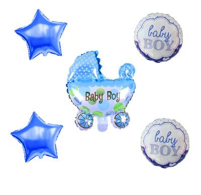 Diğer - Baby Boy Temalı Puset Figürlü Folyo Balon Seti Mavi