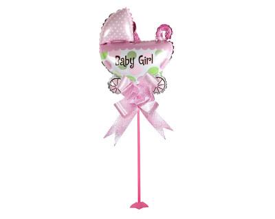 Diğer - Baby Girl Puset Figürlü Parti Masa Süsü Çubuklu Folyo Balon Pembe