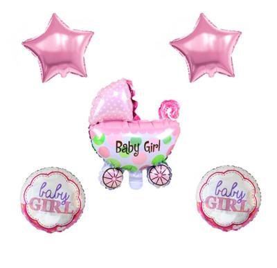 Diğer - Baby Girl Temalı Puset Figürlü Folyo Balon Seti Pembe