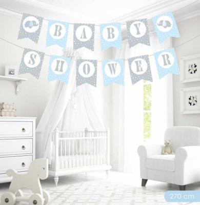 Diğer - Baby Shower Yazılı Flama Bayrak Sıralı Duvar Süsü Mavi