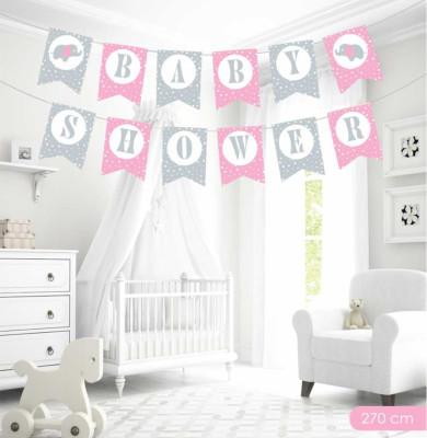 Diğer - Baby Shower Yazılı Flama Bayrak Sıralı Duvar Süsü Pembe