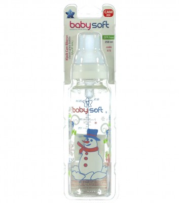Baby Soft - Baby Soft Klasik Cam Biberon 250ml Beyaz