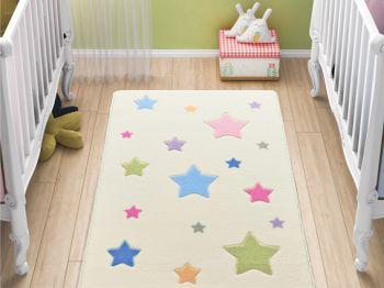 Baby Stars Renkli Yıldız Desenli Çocuk ve Bebek Odası Halısı 100x150cm