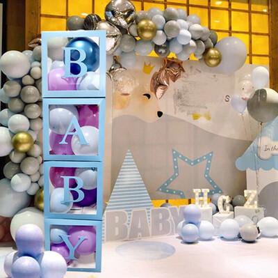 Diğer - Baby Yazılı Şeffaf Parti Süsleme Balon Kutusu Mavi 25cm
