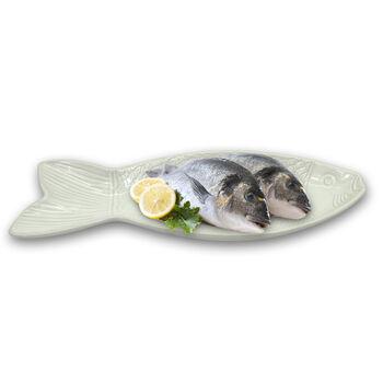 Balık Şeklinde Seramik Orta Boy Servis Tabağı Beyaz 35cm.