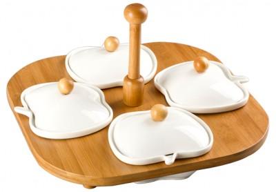 Diğer - Bambu Standlı Elma Tasarımlı Porselen 4 Bölmeli Kapaklı Kahvaltı Seti