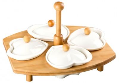 Diğer - Bambu Standlı Kalp Tasarım Porselen 4 Bölmeli Kapaklı Kahvaltı Seti