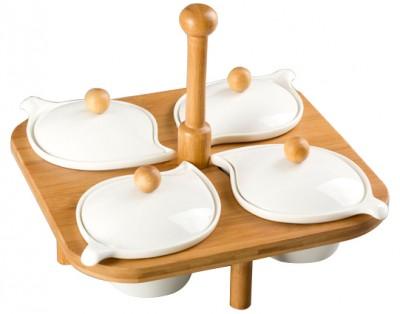 Diğer - Bambu Standlı Yaprak Şeklinde Porselen 4 Bölmeli Kapaklı Kahvaltı Seti