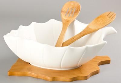 Diğer - Bambu Standlı Yaprak Şeklinde Porselen Salata Kasesi Kaşığı ve Çatalı