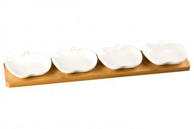 Diğer - Bambu Tepsili Elma Tasarımlı Porselen 4lü Sosluk ve Çerezlik