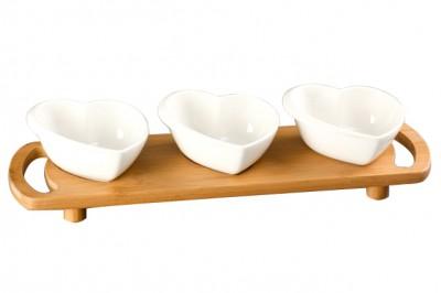 Diğer - Bambu Tepsili Tutma Kulplu Kalp Tasarım Porselen 3lü Sunum Seti