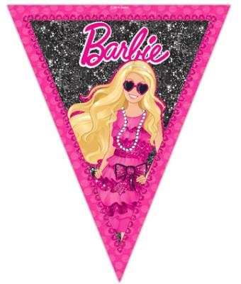 Diğer - Barbie Temalı Konsept Parti Üçgen Flama Bayrak
