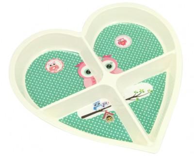 Diğer - Baykuş Baskılı Kalp Şeklinde 4 Bölmeli Melamin Kahvaltılık ve Çerezlik Krem