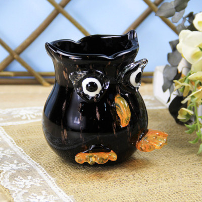 Diğer - Baykuş Tasarımlı Cam Vazo 21cm Siyah