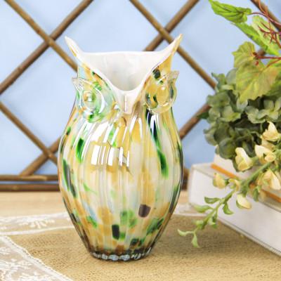 Diğer - Baykuş Tasarımlı Cam Vazo 21cm Yeşil