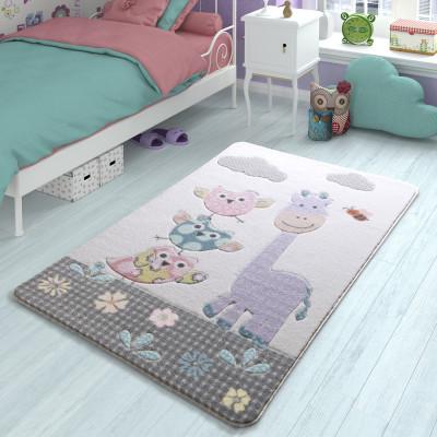 Diğer - Baykuş ve Zürafa Desenli Çocuk ve Bebek Odası Halısı Lila 133x190cm