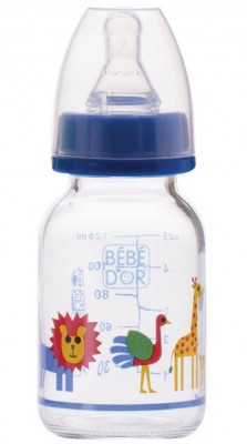 Diğer - Bebedor Desenli Cam Biberon Yavaş Akış 125ml Mavi